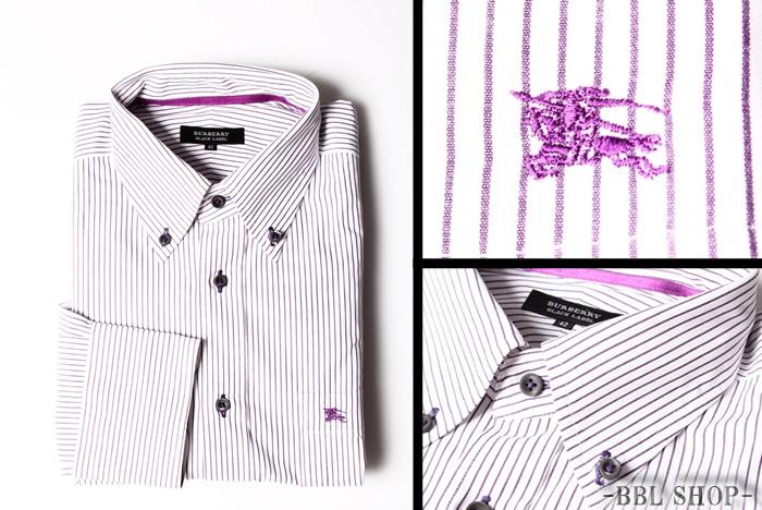 ロゴ刺繍ストライプボタンダウンシャツ
