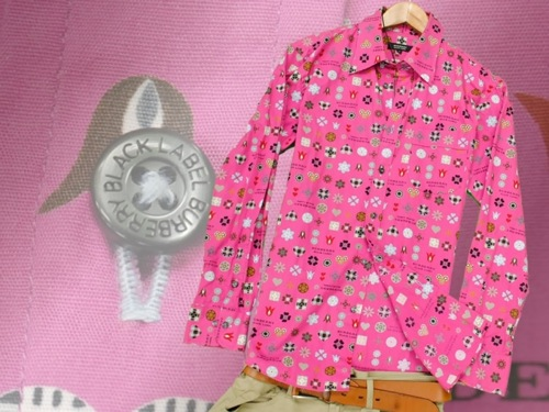 ピンクモノグラムシャツ