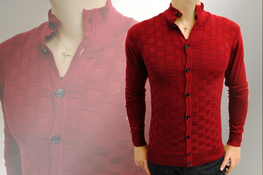 凸凹編み衿付きウールカーディガン