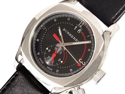 バーバリー ブラックレザー腕時計
