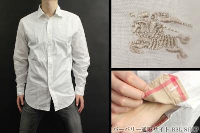 刺繍ロゴホワイトデザイン長袖シャツ